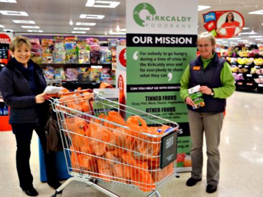 Kirkcaldy Foodbank volunteers in a supermarket
