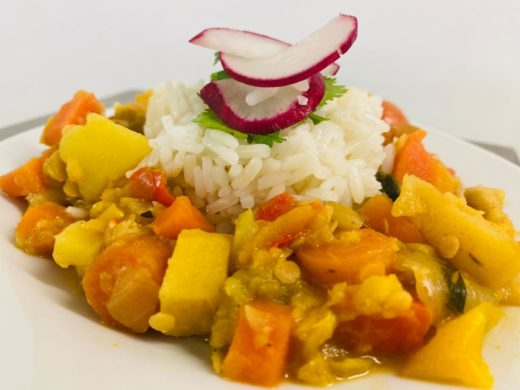 Curry and rice dish